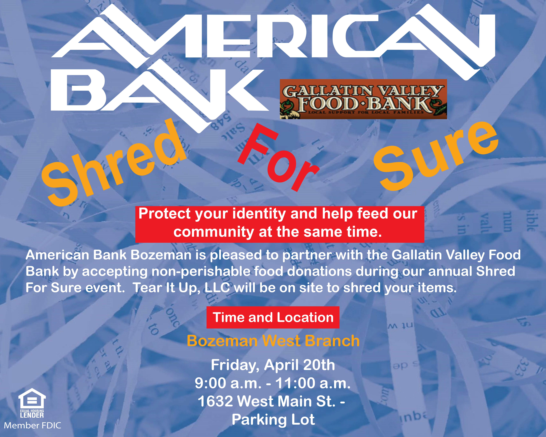 2020 Shred Events Wisconson.Free Document Shredding Gallatin Valley Food Bank